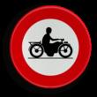 Verkeersbord België C07 - Verboden toegang voor bestuurders van motorfietsen.