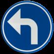Verkeersbord België D01b - Verplichting de door de pijl aangeduide richting te volgen (hier links)