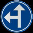 Verkeersbord België D03a - Verplichting één van de door de pijlen aangeduide richtingen te volgen