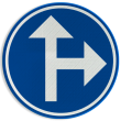 Verkeersbord België D03b - Verplichting één van de door de pijlen aangeduide richtingen te volgen.