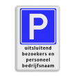 Parkeerbord RVV E04 + 3 regelige tekst wit