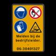 Verkeersbord 4 pictogrammen + 4 txt