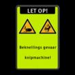 Veiligheidspictogram - Pas op voor beknelling van de handen - W024 + Eigen tekst