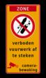 Vuurwerkbord zone + tekst + picto