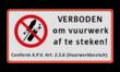Verkeersbord ARD Verboden vuurwerk af te steken
