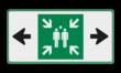 Veiligheidspictogram - Verzamelplaats - E007 + pijl links-rechts