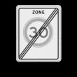 Verkeersbord RVV A02-xxx zbe - Einde zone maximum snelheid