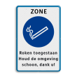 Informatiebord - Rookzone + eigen tekst