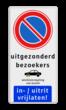 Parkeerbord RVV E01 + eigen tekst + 2x picto