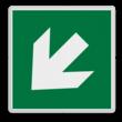 Veiligheidspictogram - Vluchtroute - te volgen richting - Pijl links-omlaag