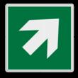 Veiligheidspictogram - Vluchtroute - te volgen richting - Pijl rechts-omhoog