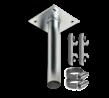 Rechte muur- / plafondbeugel Ø48mm gegalvaniseerd staal inclusief montageplaat en beugelset