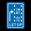 Verkeersbord RVV VR09-04 - Let op: recht doorgaande fietsers en bromfietsers in twee richtingen