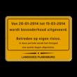 Verkeersbord WIU geel/zwart + kader en logo (1 kleur)