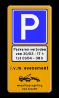 Verkeersteken + onderbord + tekstregels + pictogram