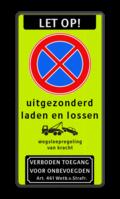 Koptekst + Verkeersteken + 2 tekstregels + Pictogram + Ondertekst