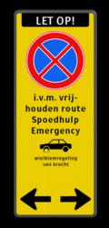 Koptekst + Verkeersteken + 4 tekstregels + Pictogram + Ondertekst
