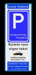Koptekst - Verkeersteken E - Pictogram - 2 tekstregels - Ondertekst