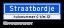 Straatnaambord KOKER 70x20cm - max. 12 karakters - met nummer verwijzing - NEN1772