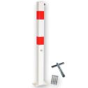 Antiparkeerpaal 70x70mm rood/wit, NEERKLAPBAAR - bodemmontage parkeerpaal, driekant, sleutel, brandweerpaal, parkeren, rood-witte paal, anti-parkeerpaal, niet parkeren, klappaal, klap paal