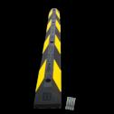 Parkeerplaatsstop 1200x150x100mm geel/zwart varkensrug, parkeerplaatsstopper, drempel, biggerug, biggenruggen