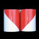 Markeertape reflecterend klasse II - 141mm - links/rechts rood wit lint, afzetlint