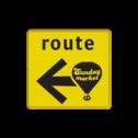 Verkeersbord WIU geel/zwart Sunday Market - 300x300mm - mini Tekstbord, WIU bord, tijdelijke verkeersmaatregelen, werk langs de weg, omleidingsborden, tijdelijk bord, werk in uitvoering, 3 regelig bord