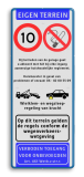 Verkeersbord Eigen terrein + RVV A1-snelheid vrij invoerbaar + RVV E04 + 3 vrij invoerbare tekstregels +wegsleepregeling Verkeersbord  400x1000mm et-A1-RV-E04-txt-odt-wsr parkeren, maximum snelheid, eigen tekst, A1, E4
