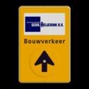 Routebord bedrijfsnaam/logo - geel/zwart/blauw + tekst en draaibare pijl Tekstbord, WIU bord, tijdelijke verkeersmaatregelen, werk langs de weg, omleidingsborden, tijdelijk bord, werk in uitvoering, 3 regelig bord, J16