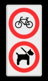 Verkeersbord 400x800mm C14 - Honden verboden eigen terrein, priveterrein,  hond,  eigen tekst, C14
