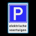 Verkeersbord Hier is de desbetref- fende parkeerplaats gereserveerd voor een elektrisch voertuig (met een stekker), deze hoeft echter niet bezig te zijn met opladen. Verkeersbord E04 + tekstregels - Parkeerplaats voor elektrische auto's E04el Parkeerbord, parkeerplaats, eigen plaats, parkeren, RVV E04, p bord, BW101 SP19 - autolaadpunt, autolaadpunt, oplaadpalen, oplaadpaal, BE04, elektrisch, Opladen, Laadpaal