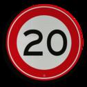 Verkeersbord Maximum toegestane snelheid 20 kilometer per uur Verkeersbord RVV A01-020 - Maximum snelheid 20 km/h A01-020 snelheid, jarig,