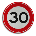 Verkeersbord Maximum toegestane snelheid 30 kilometer per uur  Verkeersbord RVV A01-030 - Maximum snelheid 30 km/h A01-030 snelhied, 30 km bord, snelheid, jarig, zone