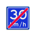 Verkeersbord EINDE Adviessnelheid 30 km/h Verkeersbord RVV A05-vrij invoerbaar - Einde adviessnelheid 30 km/h A05-030 snelhiedsbord, snelheidbord, 50 km bord, snelheid, zonebord, einde, 50 km per uur, adviessnelheid, einde, a5