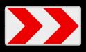 Verkeersbord RVV BB11r rijrichting, pijl, rood wit, bocht, BB12l