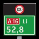 Hectometerbord BM07a + snelheid [ Li ] nummerpaal, hectometerpaal, RWS, BM7a, hectometer