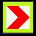 Verkeersbord RVV BB12rf - fluor rand bocht, pijl, wit rood, BB12rf, BB12, rechts, fluor
