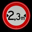 Verkeersbord Gesloten voor voertuigen en samenstellingen van voertuigen die, met inbegrip van de lading, breeder zijn dan op het bord is aangegeven Verkeersbord RVV C18-... - Gesloten voor te brede voertuigen C18 verbodsbord,  verboden, breedte, C18