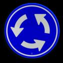 Verkeersbord Rotonde verplichte rijrichting Verkeersbord RVV D01 - Rotonde D01 rotondebord, 3 pijlen, rond blauw bord, D1