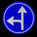 Verkeersbord Gebod tot het volgen van de rijrichting of één van de rijrichtingen die op het bord zijn aangegeven Verkeersbord RVV D06l - Verplichte rijrichting rechtdoor of linksaf D06l pijlbord links, twee pijlen, rond blauw bord, bord met pijlen, D6, D6l