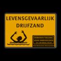 Verkeersbord WIU geel/zwart drijfzand drenkeling, gevaarlijk terrein, drijfzand