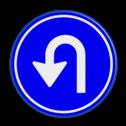 Verkeersbord Gebod tot het volgen van de rijrichting of één van de rijrichtingen die op het bord zijn aangegeven Verkeersbord RVV D08 - Verplicht te keren D08 twee pijlen, rond blauw bord, bord met pijlen, pijlenbord, D7