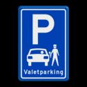 Parkeerbord type E08 Valetparking - parkeerservice stoep, parkeerplek, parkeerplaats, auto, electrisch, E8, volkswagen, logo, v.w.