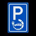 Verkeersbord elektrische auto - België stoep, parkeerplek, parkeerplaats, auto, electrisch, E8, laadpaal, oplaadpalen, oplaadpaal