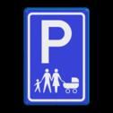 Verkeersbord parkeerplaats voor Gezinnen parkeerplek, auto, parkeerplaats, E8