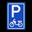 Verkeersbord Parkeerplaats brommers . Parkeergelegenheid alleen bestemd voor voertuigcategorie, of groep voertuigen, die op het bord is aangegeven Verkeersbord RVV E08e - Parkeerplaats brommers E08e bromfiets, scooter, parkeerplek, parkeerplaats, E8, E8e
