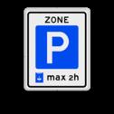 Verkeersbord Parkeerzone, het is verplicht een parkeerkaart te gebruiken. Verkeersbord RVV E10zb  - Parkeerzone parkeerkaart E10 parkeren, zone, parkeerschijf, wandelpad, E10