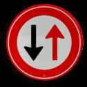 Verkeersteken Verbod voor bestuurders door te gaan bij nadering van verkeer uit tegengestelde richting Verkeersteken RVV F05 - klasse III Wegversperring, tegeovergestelde richting, voorrang, F5