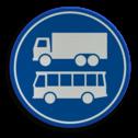 Verkeersbord ** NIEUW RVV - GELDIG vanaf 01-01-2017 ** Rijbaan of rijstrook uitsluitend ten behoeve van lijnbussen en vrachtverkeer. Verkeersbord RVV F19 - Rijbaan of -strook bus en vrachtverkeer F19 nieuw, vrachtauto, bus