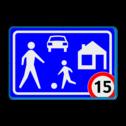 Verkeersbord Woonerf met snelheidsbeperking Verkeersbord RVV G05 / A1-xx - Woonerf Rijswijks verkeersbord, kinderen, G5, woonerf met snelheid, nieuw verkeersregelbord